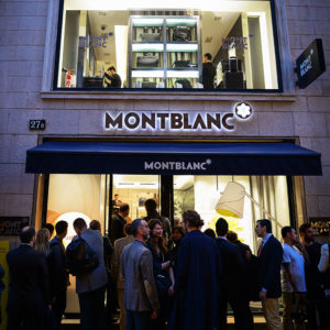 outside Montblanc's elegant boutique on Via Montenapoleone