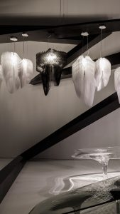 aria and avia lamps collection by zaha hadid at the tokyo opera city