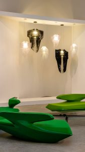 aria and avia lamps collection by zaha hadid at the leila heller gallery