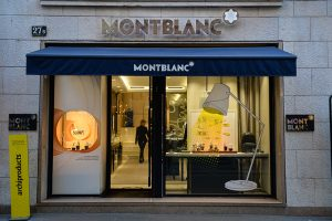 Montblanc's elegant boutique on Via Montenapoleone