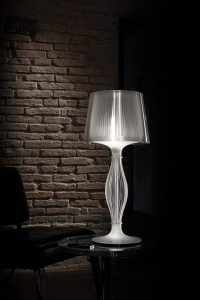 liza prisma table lamp turned on