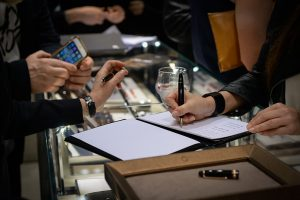 inside Montblanc's elegant boutique on Via Montenapoleone