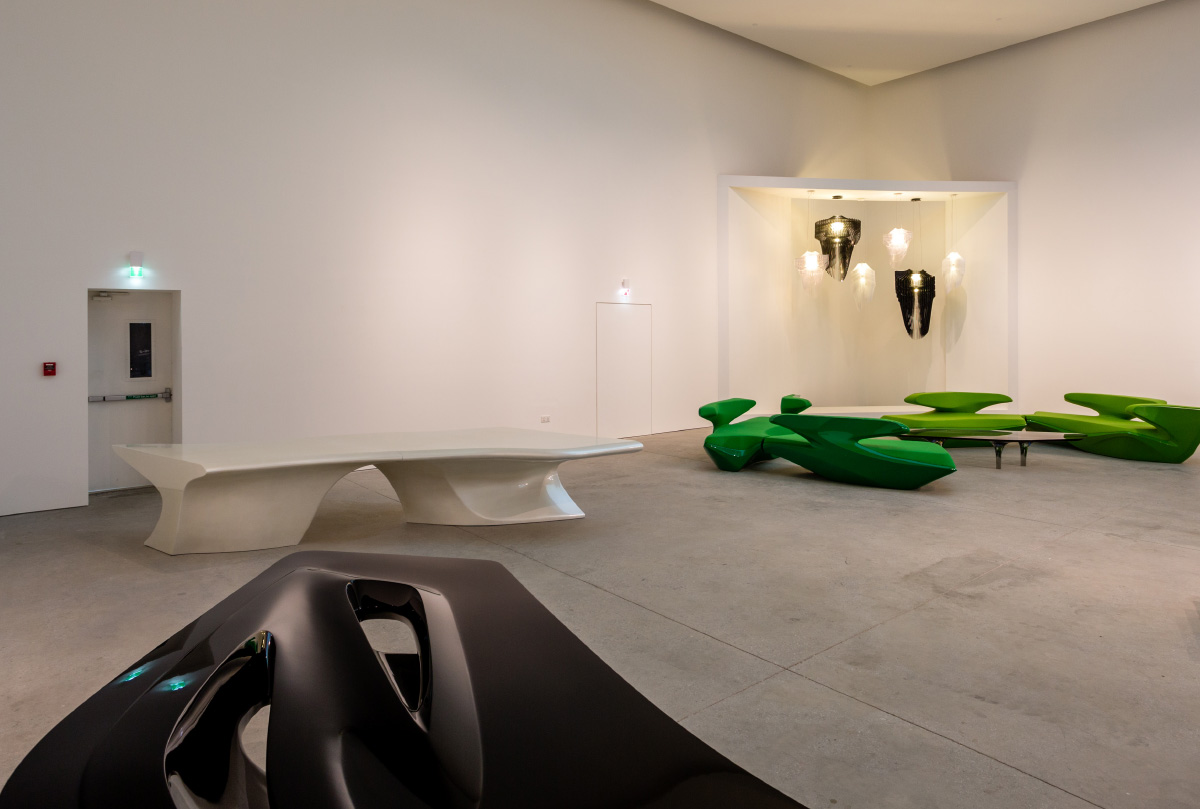 aria and avia suspension by zaha hadid at Leila Heller Gallery
