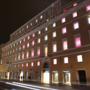 rinascente facade by night