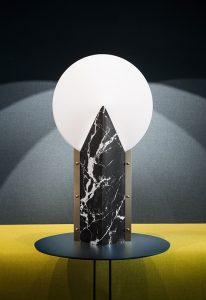moon marble black lamp on a small table