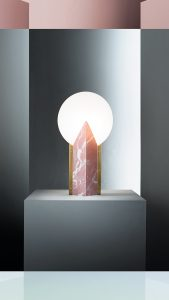moon marble pink lamp in a graphic landscale