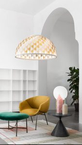 Dome suspension lamp and moon table lamp