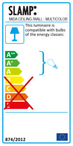 Mida multicolor ceiling/wall energy label
